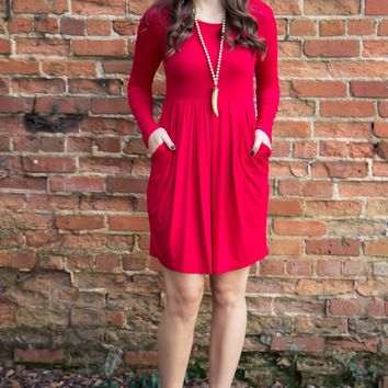 Let It Snow Dress - Red - Final Sale