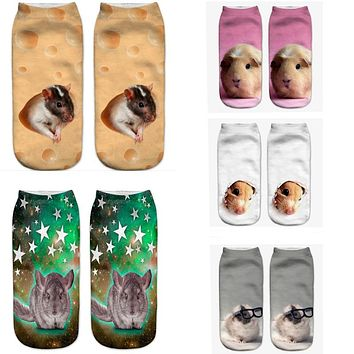Gray Mouse Pug Dog Print Socks Funny Crazy Cool Novelty Cute Fun Funky Colorful