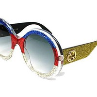 Gucci GG0101S 006 (Glitter Mix - Glitter Yellow with Grey Gradient lenses)