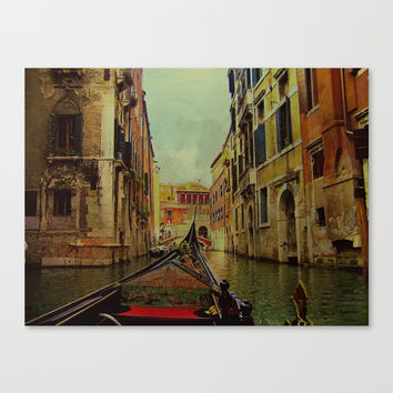 Venice, Italy Canal Gondola View Canvas Print by Theresa Campbell D'August Art
