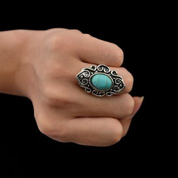 Vintage Silver Women Indian Turkish Silver Carving Antique Blue Stone Ring Boho Festival Party Jewelry Ethnic Birthday Gifts