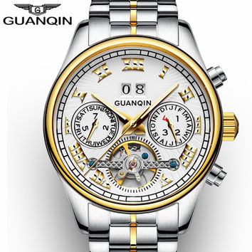 NEW GUANQIN Men's Watch Automatic Mechanical Tourbillon Watch Calendar Luminous Week Month Waterproof Watch Men Steel Wristwatch