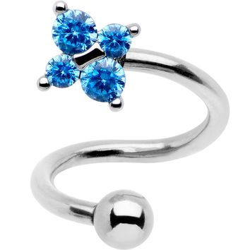 Blue CZ Gem Flower Cluster Spiral Twister Top Mount Belly Ring