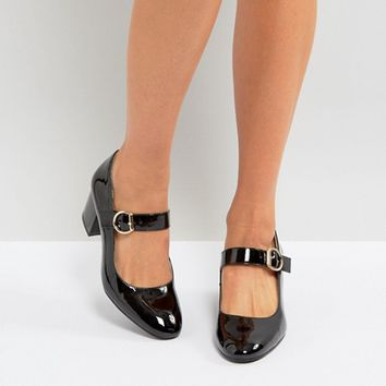London Rebel Mid Heel Buckle Mary-Jane Shoes at asos.com