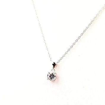 Sterling Silver Cubic Zirconia Necklace 7.5""