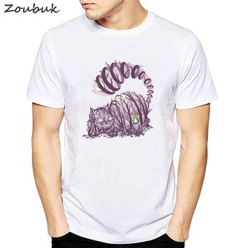 Big Purple Tooth Ghost Cheshire Cat t shirt Men Casual Funny Dj Music lover cat t-shirt Top Tee Hipster Tumblr hip hop tshirt