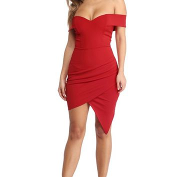 Red Off Shoulder Savvy Dress