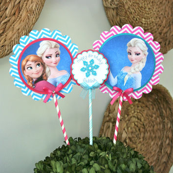 Personalized Disney Frozen Centerpieces - Anna & Elsa or Olaf Birthday Party Frozen Party Decorations