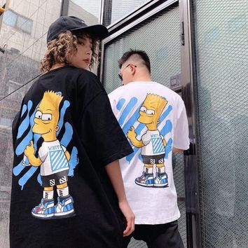 HCXX 19July 459 off-white Simpson Loose Cotton Short Sleeved T-Shirt for men and women