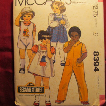 SALE Uncut McCall's Sewing Pattern, 8394! Size 1 Infant/Toddler/Girls or Boys/Child/Kids Sesame Street Muppet Characters/bloomers/Dress/Over