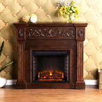 Calvert Carved Electric Fireplace, Espresso