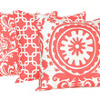 Coral Pillows Decorative Throw Pillow Covers 18 x 18 Inches Set of Three Damask Suzani Chain Link