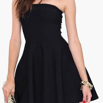 Black Strapless Mini Flounce Dress