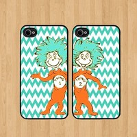 Thing 1 Chevron Best Friends iphone 4 /4S Case Soft Rubber - Set of Two Cases (Black or White ) SHIP FROM CA