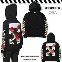 OFF WHITE Embroidered Flower Plant Hooded Zipper Sweater Jacket M-XXL