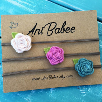Felt Flower Headband, Baby Headband Set, Pink Flower Headband, Felt Flowers, Flower Headband