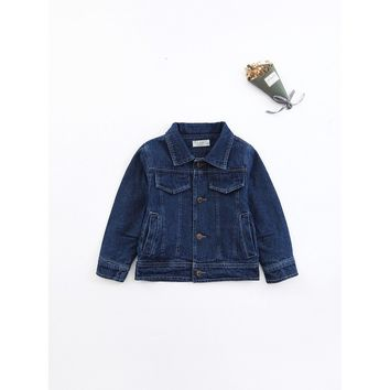 Girls Single Breasted Solid Denim Jacket