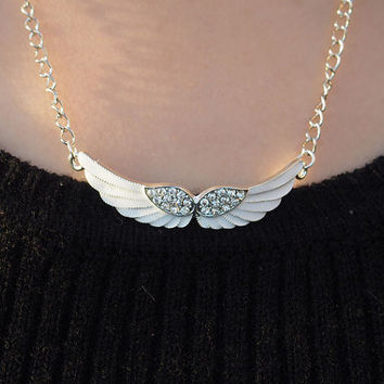 Angel Wings Necklace Bling Diamond Necklace in Silver Copper Chain, Necklace for sisters Girl Women, Custom Gift for Her