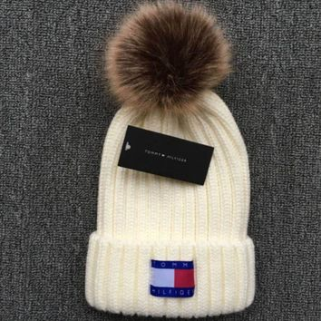 ac NOVQ2A Tommy Hilfiger 2018 new thick knit cap and qiu dong warm wool hat White