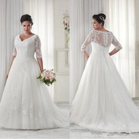 Modest Plus Size Lace Wedding Dress Sheer Sleeves Custom Size 20 22 24 26 28