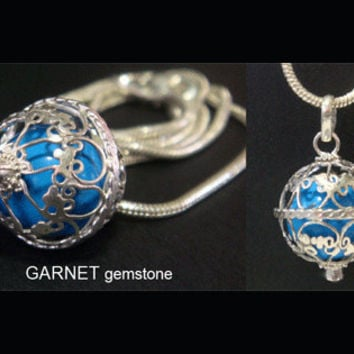 Harmony Ball with a GARNET Gemstone on 925 Sterling Silver Cage with BLUE Chime Ball | Pregnancy Gift, Bola Necklace, Angel Caller 399