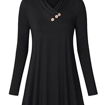 Lyking Womens Long Sleeve Pleated Cowl V Neck Casual Tunic Top