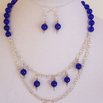 Cobalt Blue Round Beads, Chain and Beads Necklace Earring Set, Handcrafted Jewelry, Blue Statement Necklace