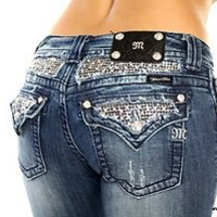 SEQUIN Embellished Miss Me Jeans Women's Blue Denim Stretch Rhinestones JP6068t