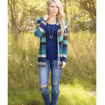 Fashion Womens Casual Striped Cardigan Coat Top +Gift Necklace