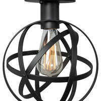 1-Light Globe Wire Cage Ceiling Light, Black - Industrial - Flush-mount Ceiling Lighting - by LNC Lighting
