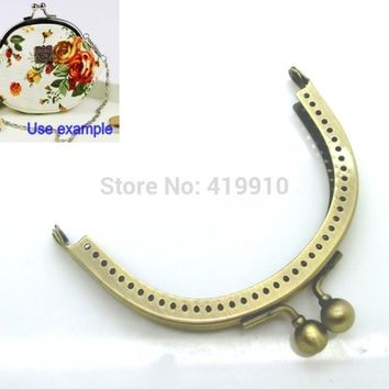 Free Shipping-2PC  Metal Frame Kiss Clasp Arch For Purse Bag Parts Lock Handle DIY Handmade Antique Bronze 8.9x6.9cm J2595