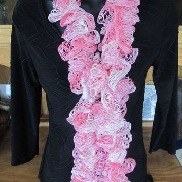 Warriors Wear Pink Breast Cancer Pink White Handmade Crochet Spiral Ruffled Scarf
