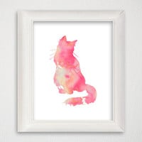 Cat Art Print, Cat Poster, Cat Wall Decor, Cat Wall Art, Cat Silhouette Print, Watercolor Cat, Watercolor Print, Archival Print