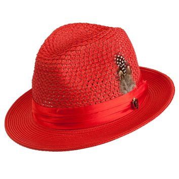 Antonio Center Dent Straw Fedora