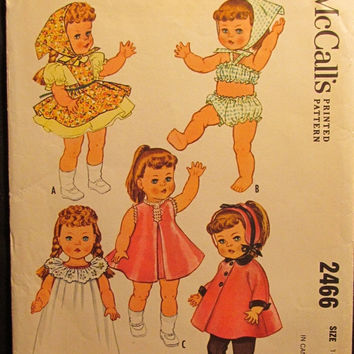 "SALE Uncut/Cut 1960's McCall's Sewing Pattern, 2466! 16""-17"" Doll Clothes/Toddler/Girls Little Doll's Wardrobe/Patsy Ann/Ruthie/Dress/Pantie"