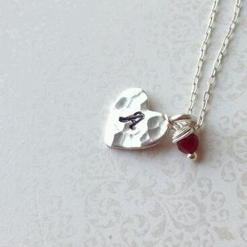 Personalized Floating Heart Necklace in Thai and Sterling Silver with Red Jade Bead--Valentine's Day gift for Girlfriend, Daughter