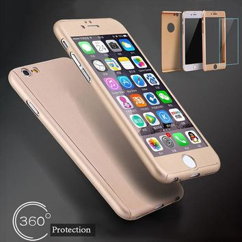 Luxury 360 Full Coverage Protective Case For iPhone 6 Plus 6s Plus Ultra thin Hard PC Hybrid Armor Phone Cases + Free Glass Flim