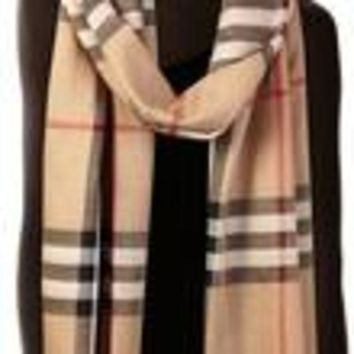 PEAPON Burberry Check Wool Silk Scarf 220 X 70cm-variation
