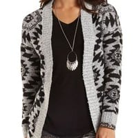 Marled Aztec Cardigan Sweater by Charlotte Russe - Black Combo