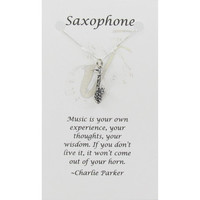 Silver Saxophone Necklace on Card with Inspirational by Classy925