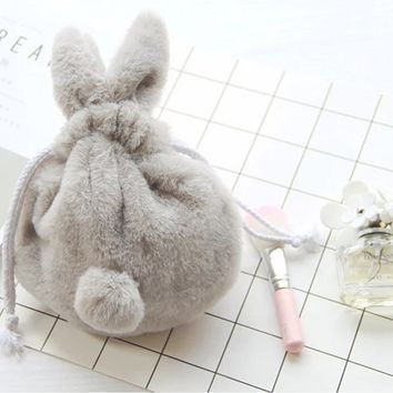 ARESLAND Cute Cosmetic Bags Women Make Up Cosmetics Organizer Bag Travel Makeup Case Plush Rabbit Drawstring Toiletry Bag