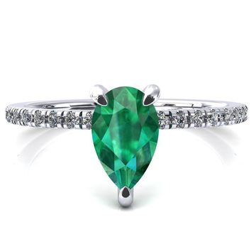Ezili Pear Emerald 3 Claw Prong Micro Pave Diamond Sides Engagement Ring
