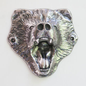 Wall-Mount Stainless Steel Grizzly Bear Bottle Opener