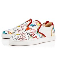 Best Online Sale Christian Louboutin Cl Sailor Boat Flat Version White Leather 18s Shoes 1180180wh43