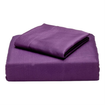 Queen size Plum Purple Microfiber Sheet Set with 2 Pillow Cases