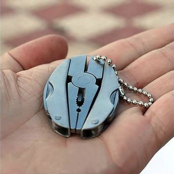 Outdoor Mini Foldaway Multi Function Tools Set Pocket Keychain Pliers Knife Screwdriver (Color: Silver) [8834050188]