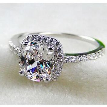 A Flawless 2.9CT Cushion Cut Halo Belgium Lab Diamond Engagement Ring