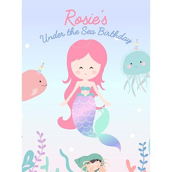 Custom Under the Sea Mermaid Pastel Theme Birthday Backdrop (Any Color) Background - C0266