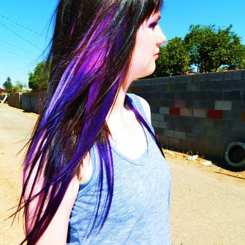 Purple Galaxy 14 inch Ombre Hair Extensions, Clip in Hair Extensions, Human Hair Extensions