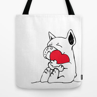 Frenchie Heart Tote Bag by Huebucket